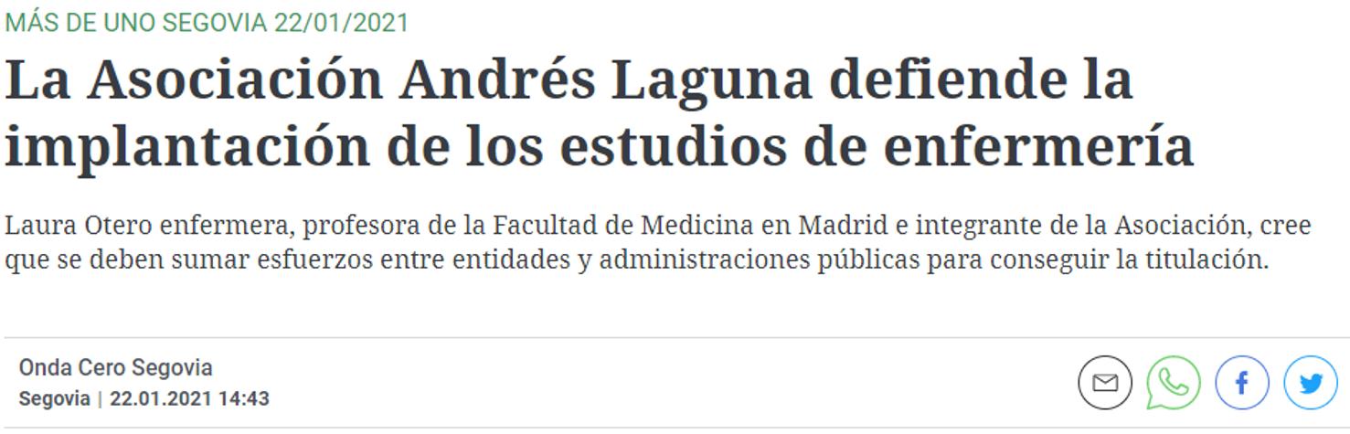 La Asociación Andrés Laguna defiende la implantación de los estudios de enfermería